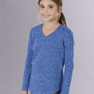 Girl's Heather Long Sleeve V-Tee Thumbnail